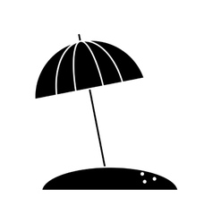 Silhouette beach umbrella parasol sun vacation vector