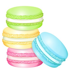 Stack of colorful macaron vector image
