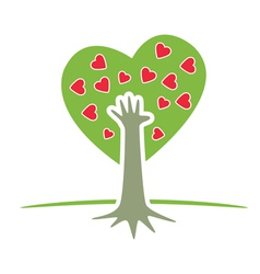 tree with hand and hearts vector image vector image