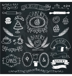 Vintage Bakery Labels element setHand sketched vector image vector image