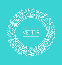 Vintage frame in trendy linear frame for florist vector