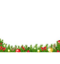 Xmas border with fir tree vector