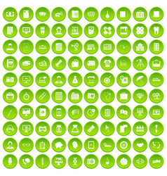 100 department icons set green circle vector image vector image
