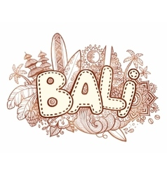 Henna colors bali sign on hand drawn doodle vector