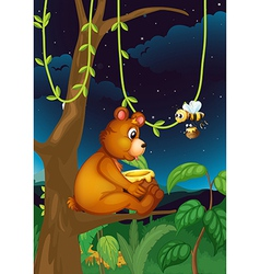 A bear and a bee vector image