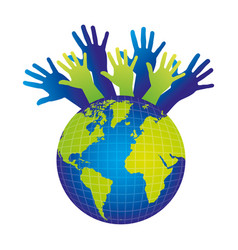color silhouette with support hands to the world vector image