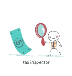 Tax inspector with magnifying glass looking for vector