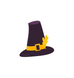 Cartoon style pilgrim hat with yellow oak leaf vector
