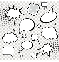 Comic speech bubbles and comic strip on monochrome vector
