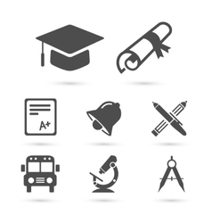 Education school icons on white elements vector