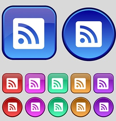 Rss feed icon sign a set of twelve vintage buttons vector