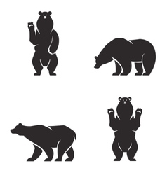 Silhouettes of the bears set vector