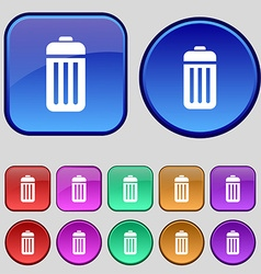 The trash icon sign a set of twelve vintage vector