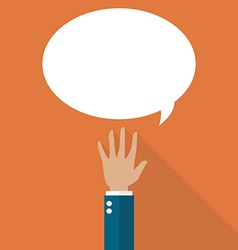 Hand raised with speech bubble vector