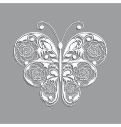 White paper butterfly with floral pattern on gray vector