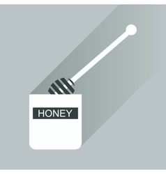 Flat icon with long shadow jar of honey vector