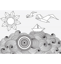 Paper Ship and Sun and Birds Origami vector image