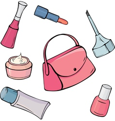 Set of different cosmetic items vector image