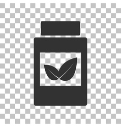 Supplements container sign dark gray icon on vector