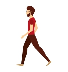 Young man walking isolated icon design vector