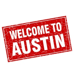 Austin red square grunge welcome to stamp vector