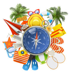 Beach accessories with compass vector