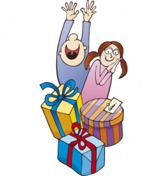 Children and gifts vector