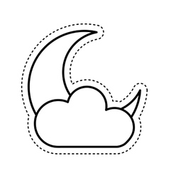 cloud with moon climate sign isolated icon vector image vector image