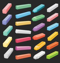 Color chalk pastel sticks artist supplies vector
