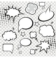 Comic speech bubbles and comic strip on monochrome vector