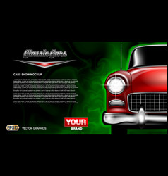 Digital red old classic car close vector