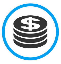 Dollar coin column rounded icon vector