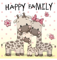 Family of Three Giraffes vector image