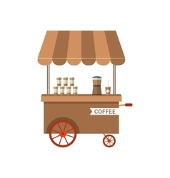 Flat Icon Cart of Coffee Isolated on White vector image