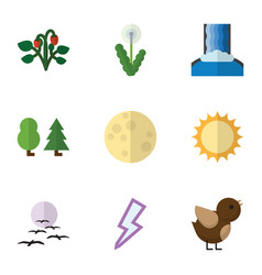 Flat icon nature set of bird gull solar and vector