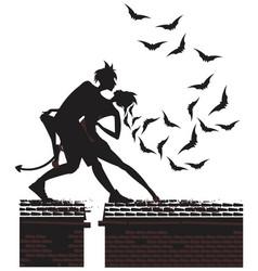 halloween silhouette of devil couple dancing vector image vector image