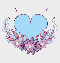 Heart with branches flowers icon vector