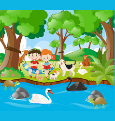Kids reading book in the forest vector