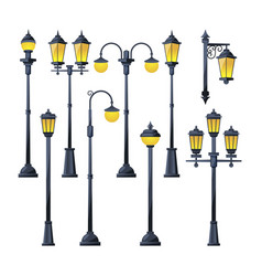 old city lamps in cartoon vector image vector image
