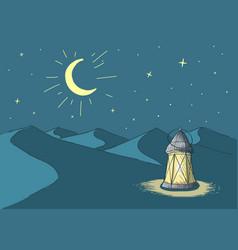 ramadanluminous lantern in desert vector image