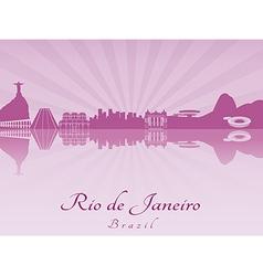 Rio de Janeiro skyline in purple radiant orchid vector image