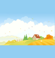 Rural autumn scene vector