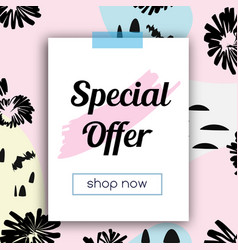sale banner with fashionable hand drawn style vector image