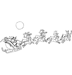 Santa Claus a bag of gifts in a sleigh flying vector image