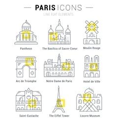 Set flat line icons paris architecture vector