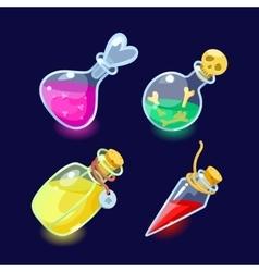 Set of cartoon bottles potion vector