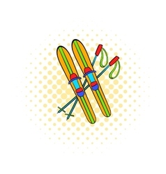 Skis and sticks icon comics style vector image