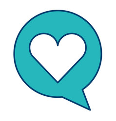 speech bubble and heart love social media vector image
