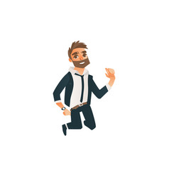 successful businessman jumping happily vector image vector image