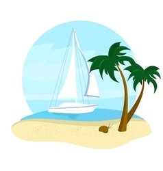 Summer holidays travel icon with yacht and beach vector